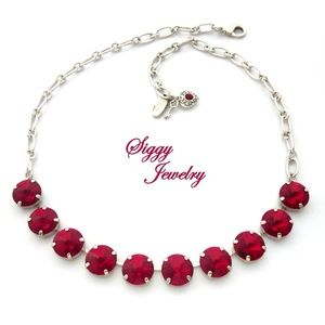 Swarovski® Crystal Necklace, 12mm Siam Red Rivoli